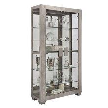 Modern Lighted 5 Shelf Curio Cabinet in Ashwood Taupe