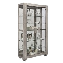 Modern Lighted 5 Shelf Curio Cabinet in Ashwood Taupe