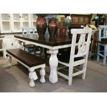 6' White/Walnut Rectangular Table