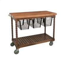 Teak Patio Serving Cart in Burnt Umber Oil
