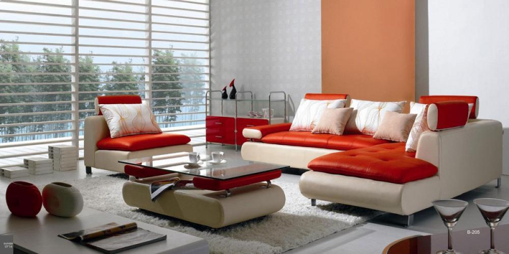 Divani Casa B205   Modern White U0026 Red Leather Sectional Sofa Set