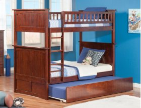 Nantucket Bunk Bed Twin over Twin with Urban Trundle Bed in Walnut