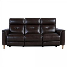 Gala Contemporary Sofa in Brown Wood Finish and Dark Brown Genuine Leather