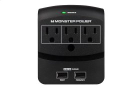 Core Power® 350 USB Wall Outlet - 3 / Black