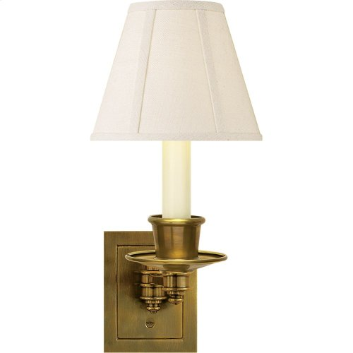 Visual Comfort S2005HAB-L Studio 7 inch 40 watt Hand-Rubbed Antique Brass Swing-Arm Wall Light in Linen