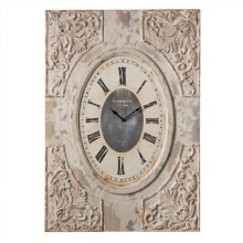 Distressed Ivory Carved Wall Clock.