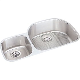 """Elkay Lustertone Classic Stainless Steel, 36-1/4"""" x 21-1/8"""" x 7-1/2"""", Offset 60/40 Double Bowl Undermount Sink Kit"""