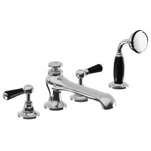 Black lever 4-hole bath set with pull-up diverter trim only, to suit R1-4025 rough