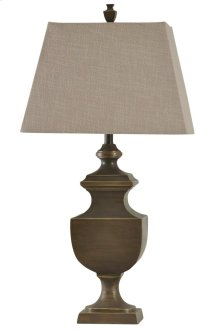 Classic Traditional Table Lamp with Rectangular Shade of Natural Linen