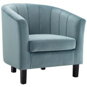Prospect Channel Tufted Upholstered Velvet Armchair in Light Blue Product Image