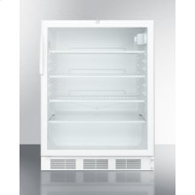 ADA Compliant, Commercially Listed Freestanding Glass Door All-refrigerator With White Cabinet and Lock
