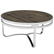 Provision Pine Wood and Stainless Steel Coffee Table in Brown