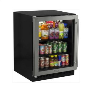 "Marvel24"" ADA Height Beverage Center - Stainless Frame Glass Door - Left Hinge"