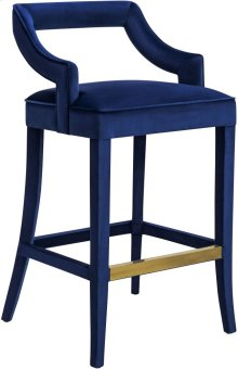 Tiffany Navy Velvet Counter Stool