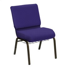 Wellington Lilac Upholstered Church Chair with Book Basket - Gold Vein Frame