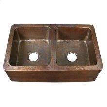 Pembroke Double Bowl Farmhouse Apron Sink - Hammered Antique Copper