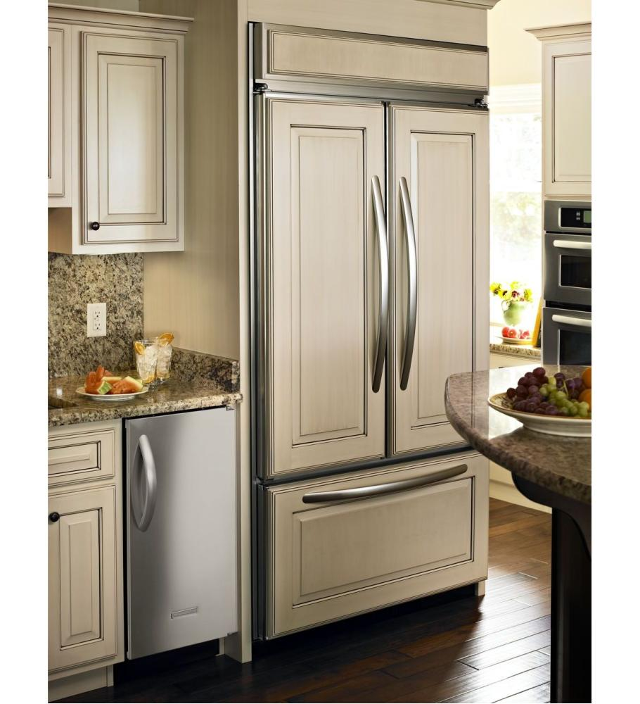 Brshd Aluminum Trim/pnl Ready Kitchenaid(r) 24.2 Cu. Ft. 42 Inch Width  Built In French Door Refrigerator, Overlay Panel Ready