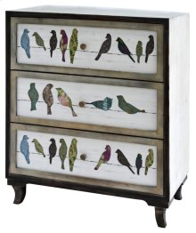 Birds on a Wire 3 Drawer Painted Chest