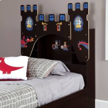 Bookcase Headboardwith Decals, Castle Themed - Chocolate
