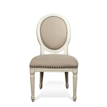 Huntleigh Upholstered Oval Side Chair Vintage White finish