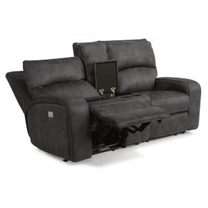 FLEXSTEELRhapsody Fabric Power Reclining Loveseat with Console and Power Headrests