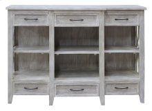 Bengal Manor Mango Wood 6 Drawer Breakfront White Wash Console