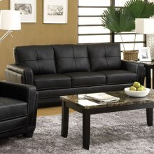 Black Leatherette Sofa and Love Seat Set