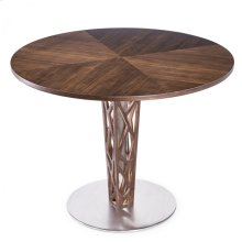 """Armen Living Crystal 48"""" Round Dining Table in Walnut veneer column and Brushed Stainless Steel finish with Walnut veneer Wood top"""