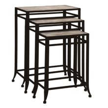 """Driftwood Iron"" Set of 3 Nesting Tables"