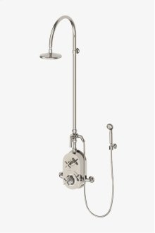 """Henry Exposed Thermostatic Shower System with 8"""" Shower Head, Handshower, Metal Lever Diverter Handle and Metal Cross Handles STYLE: HNXS50"""