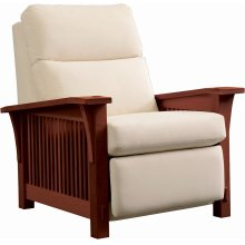 Wall Recliner Bustle Back Upholstery, Cherry Spindle Morris Recliner