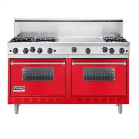 "Racing Red 60"" Open Burner Commercial Depth Range - VGRC (60"" wide, six burners 24"" wide griddle/simmer plate)"