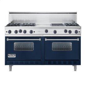 """Viking Blue 60"""" Open Burner Commercial Depth Range - VGRC (60"""" wide, six burners 12"""" wide griddle/simmer plate 12"""" wide char-grill)"""