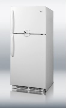 Large capacity frost-free refrigerator-freezer with single front lock for both sections