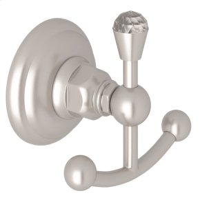 Satin Nickel Italian Bath Crystal Double Robe Hook