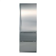 Stainless steel refrigerator with two refrigerator drawers beneath