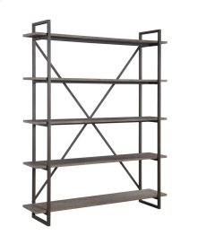 "Emerald Home Atari Bookshelf 60"" W/5 Shelves Metal Frame, Antique Grey Shelves Ac330-60"