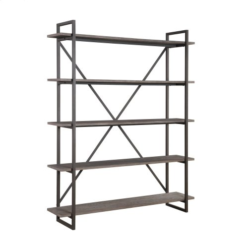 Emerald Home Atari Bookshelf 60 W 5 Shelves Metal Frame Antique Grey