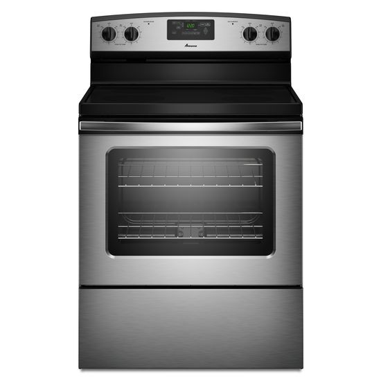 amana   30 inch amana   electric range with versatile cooktop   stainless steel hidden aer5330bas in stainless steel by amana in carpinteria ca   amana      rh   thefactoryappliance com
