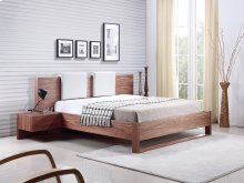 The Bay Queen Walnut Veneer Bed With Built-in Night Stands And Two Removable White Pu Headrest