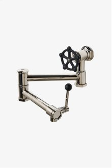 Regulator Wall Mounted Articulated Pot Filler, Black Wheel and Lever Handles STYLE: RGPF01