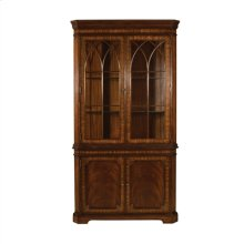 Aged Regency Mahogany Finished Corner Cabinet, Crotch Veneer, Regency Brass, Cabinet Base