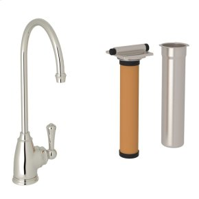 Polished Nickel Perrin & Rowe Georgian Era C-Spout Filter Faucet with Metal Lever