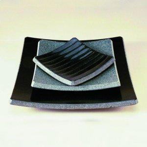 Stone Plateware Ridged Dish 4.5X5.5 / Black Granite Product Image