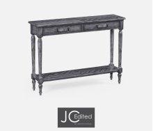 Antique Dark Grey Parquet Console Table