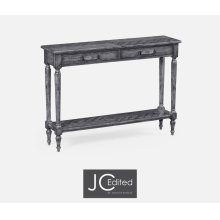 Antique Dark Grey Parquet Console Table