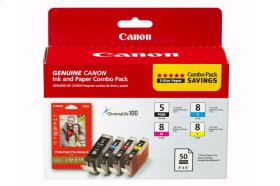 "Canon PGI-5/CLI-8 Black, Cyan, Magenta & Yellow 4 Ink Combo Pack with Photo Paper Glossy (50 Sheets, 4""x6"") PGI-5/CLI-8 Combo Pack with PP-201"