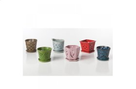 Orchid Pots with attached saucer - Set of 6