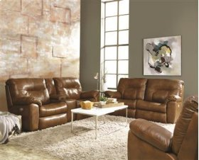 Dble Rclng Console Sofa w/ 2 Seats & Power Headrest