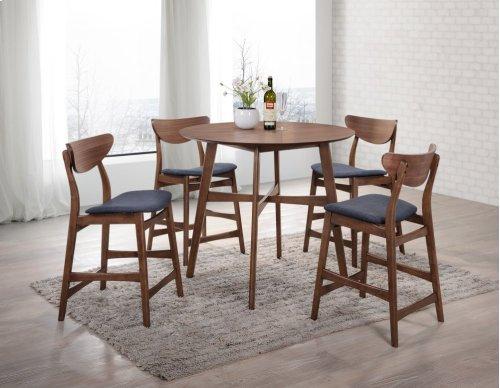 Emerald Home Simplicity Barstool Wood Back W/uph Blue Seat Walnut D550-24
